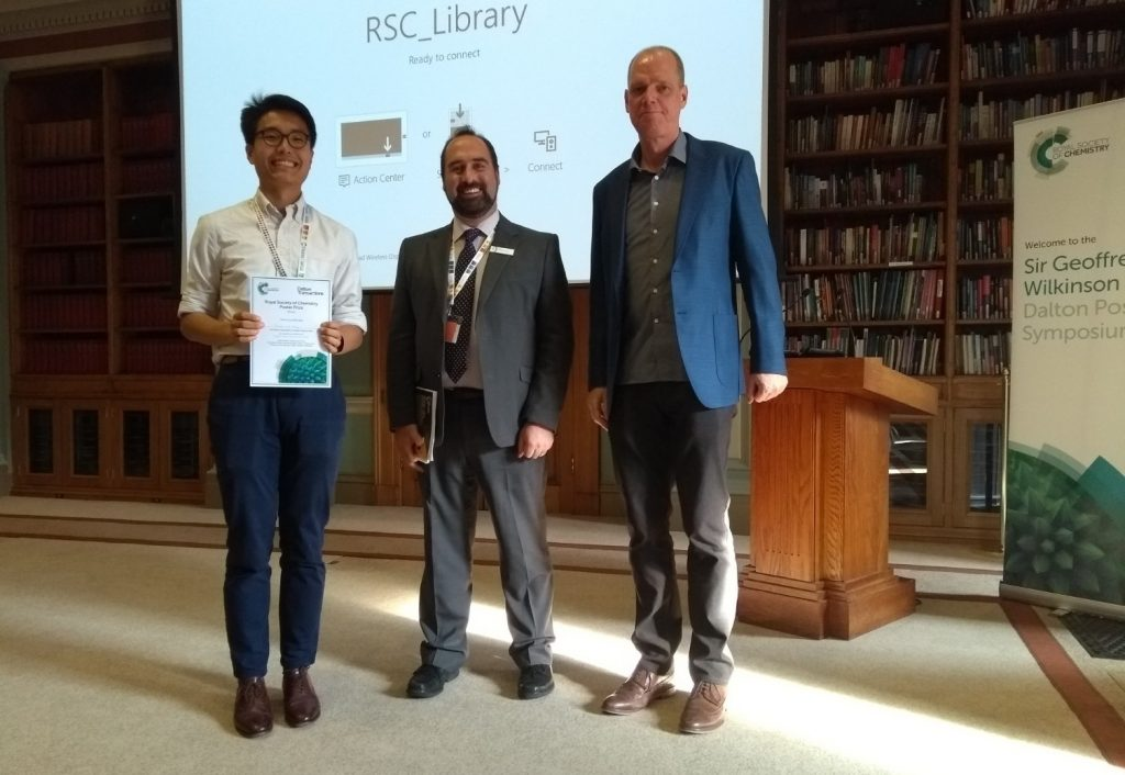 Richard Yuze Kong, Imperial College London, photographed with Andrew Shore, RSC, and Warren Piers, University of Calgary. Photo © Royal Society of Chemistry